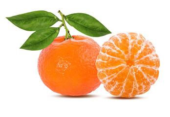 Fototapete - Mandarin, tangerine citrus fruit with leaf isolated on white background