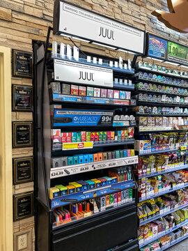 Juul brand ecigarettes in a case at a Wawa