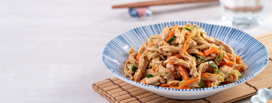 Taiwanese food - Homemade delicious cold dish of shredded chicken with soy sauce