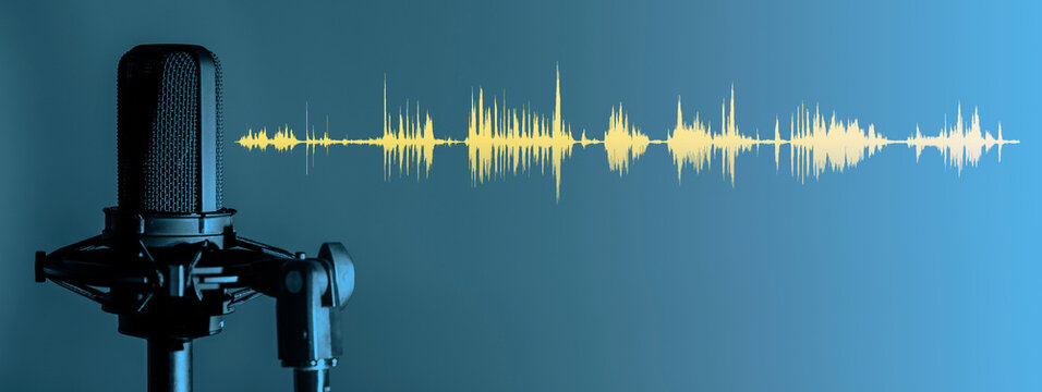 Microphone with yellow waveform on blue background, broadcasting or podcasting banner