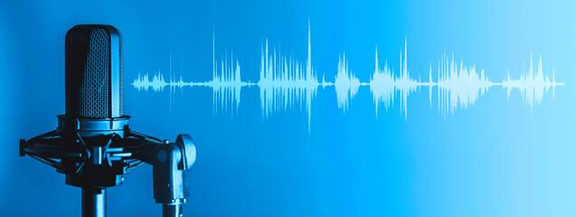 Fototapeta Microphone with waveform on blue background, broadcasting or podcasting banner obraz