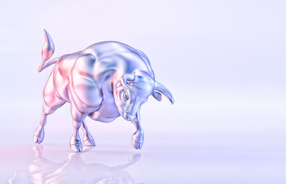 White metal bull isolated, light background, horoscope illustration. Traditional chinese lunar horoscope symbol of 2021 New Year. New year of the ox sign and christmas greeting card 3D design template
