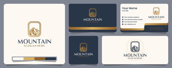 Fototapeta mountain , nature , gold color , banner and business card , logo design inspiration