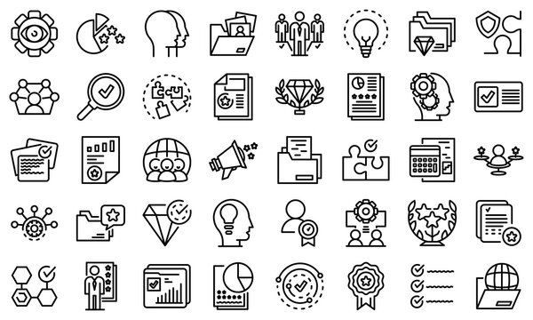 Expertise icons set. Outline set of expertise vector icons for web design isolated on white background