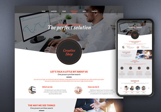 Website Layout with Red and Gray Accents