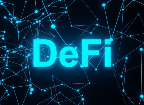 DeFi - Decentralized Finance peer to peer open source protocol , futuristic dark background with dots and lines