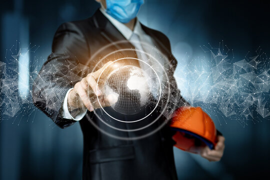 Concept of construction industry work during a pandemic.