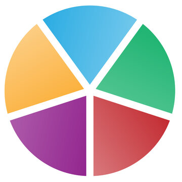 5 Piece Pie Chart in Blue Yellow Red Purple and Green Tones Isolated Vector Illustration
