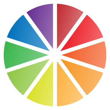 10 Piece Pie Chart in Red Blue Purple Yellow and Green Tones Isolated Vector Illustration