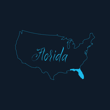 Florida state highlighted on United States of America map , USA infographics template. Stock vector illustration isolated on blue background.