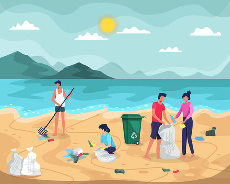 Beach cleaning vector illustration. People collecting trash into bags on beach. Young people cleaning plastic garbage on waterfront. Volunteers clean up trash on ocean coast. Vector in a flat style