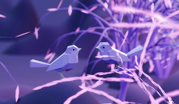 two beautiful lovers low poly polygonal birds sitting on a branch tree in fairy forest, 3d render