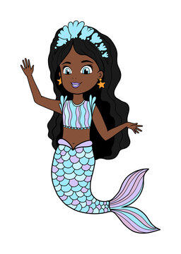 Vector illustration of an African American little mermaid with a blue tail and dress. Beautiful dark-skinned girl waves her hand. Ready coloring mermaid line art with color. All objects are separate