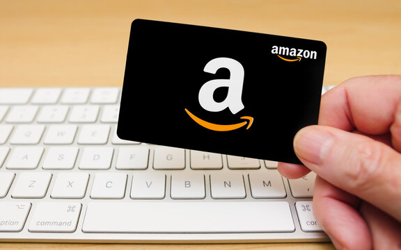 ATLANTA, GEORGIA - NOVEMBER 3, 2020 : Amazon gift cards can be used to purchase items from the Amazon.com website via computer or mobile device.