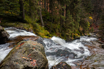 spectacular waterfall view from the top, water leading to the valley, cascades in autumn forest, bohemian forest