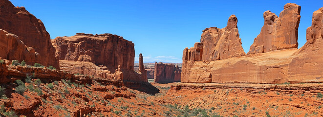 Panoramic view of Arches national park .View from Park Avenue over look.
