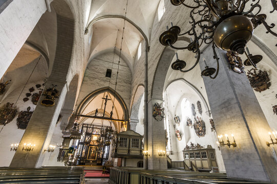 Tallinn, Estonia. Inside St. Mary's Cathedral or Toomkirik, a Estonian Evangelical Lutheran cathedral church located on Toompea Hill