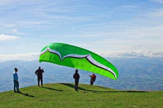 Monte San Vicino, Italy - November 1, 2020: Paragliding in the mountains.