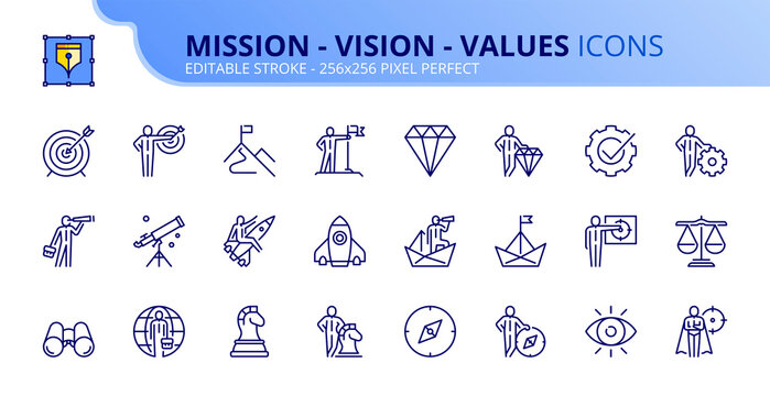 Simple set of outline icons about mission, vision and core values. Business concepts