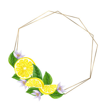 Watercolor lemon wreath. Hand drawn frame with lemons and leaves.