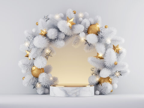 3d render, Christmas white gold background with marble podium and round spruce wreath decorated with festive ornaments and lights. Commercial seasonal showcase mockup for product presentation.