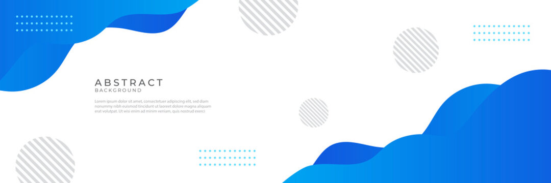Liquid abstract wave background. Blue fluid vector banner template for social media, web sites. Wavy shapes vector illustration