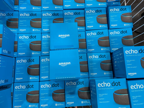 Boxes of Amazon Echo Dot virtural assistants for sale in a display bin in a Best Buy chain electronics retail store.