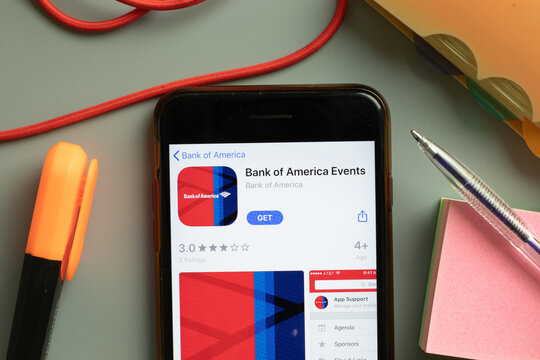 New York, USA - 29 September 2020: Bank of America Events mobile app logo on phone screen close up, Illustrative Editorial