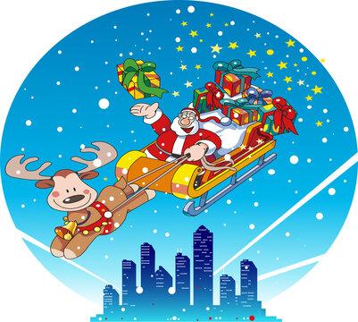 ソリに乗ったサンタクロースと都会のクリスマスの夜