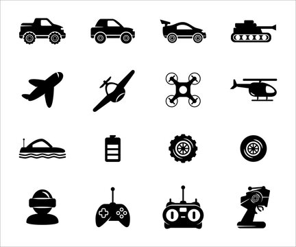 Simple Set of remote control toy Related Vector icon graphic design. Contains such Icons as remote controller, car, drone, game, buggy, helicopter, tank, airplane, plane, submarine, and bigfoot