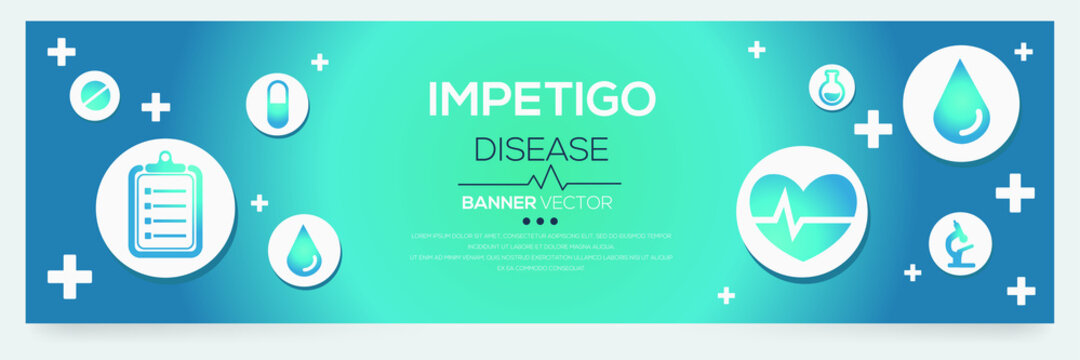 Creative (Impetigo) disease Banner Word with Icons ,Vector illustration.
