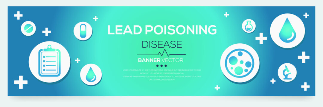 Creative (Lead Poisoning) disease Banner Word with Icons ,Vector illustration.