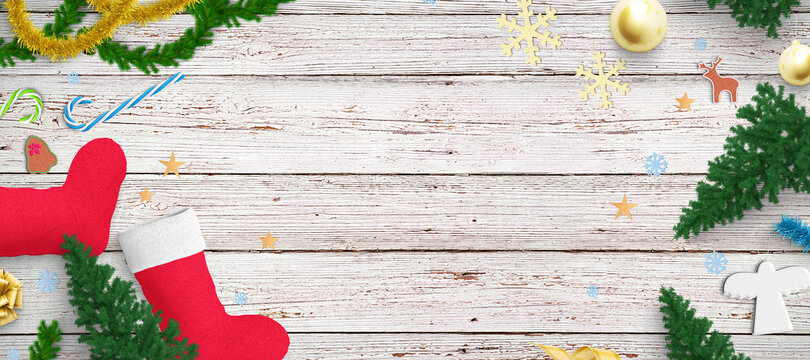 christmas decoration with space for own message on wooden background