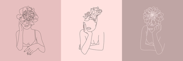 Set of Abstract minimalistic Women figure with Flowers. Vector fashion illustration of the female body in a trendy linear style. Elegant art for posters, tattoos, logos, t-shirts prints Fototapete