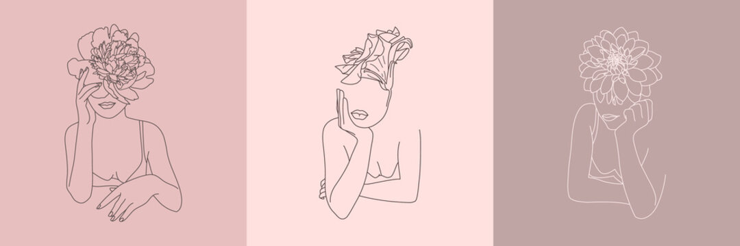 Set of Abstract minimalistic Women figure with Flowers. Vector fashion illustration of the female body in a trendy linear style. Elegant art for posters, tattoos, logos, t-shirts prints