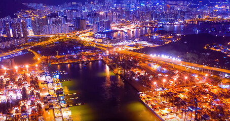 City at night, city lights, lanterns, bridge and river