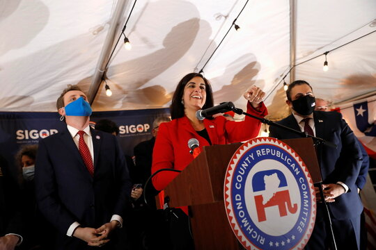 Republican congressional candidate for New York's 11th district, Nicole Malliotakis addresses attendees at the Staten Island Republican Party Headquarters election night watch party on Staten Island in New York City