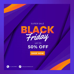 Wall Mural - Black Friday sale banner set. Social media post or web ads design template. Price off discount background. Vector illustration.