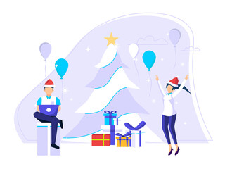 Fototapeta Concept of celebrating Christmas day during work holidays. people prepare Christmas parties and gifts. Cute vector illustrations for greeting cards, social media, web.