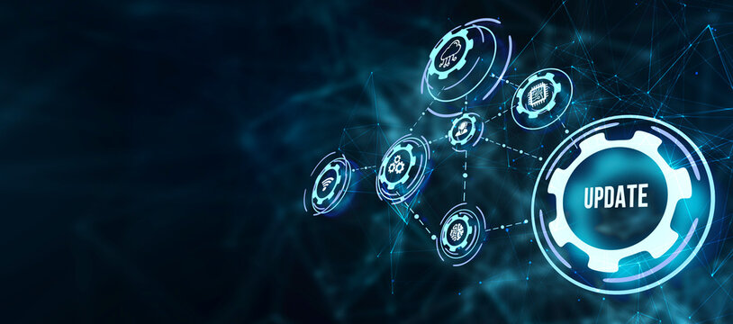 Internet, business, Technology and network concept. Update software computer program upgrade.