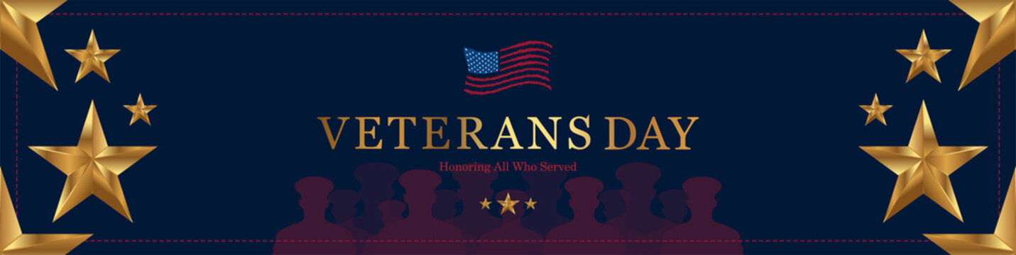 Happy Veterans Day. Greeting card with USA flag, gold star and soldiers on background. National American holiday event. Flat vector illustration EPS10.
