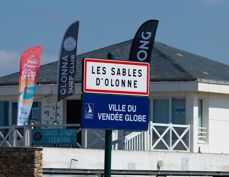 Les Sables d Olonne town sign and Vendee globe yatch race logo