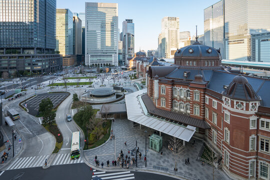 Tokyo city with Tokyo station in city center of Tokyo, Japan