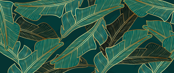 Gold and luxury banana leaves background vector. Floral pattern with golden tropical palm, coconut tree, split-leaf Philodendron plant ,Jungle plants line art on white background.
