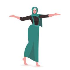 Wall Mural - beautiful girl arab woman in dress female cartoon character standing pose full length vector illustration