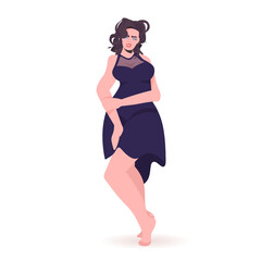 Wall Mural - beautiful girl sexy woman in dress female cartoon character standing pose full length vector illustration