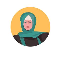 Wall Mural - young arab woman profile avatar beautiful girl face female cartoon character portrait vector illustration