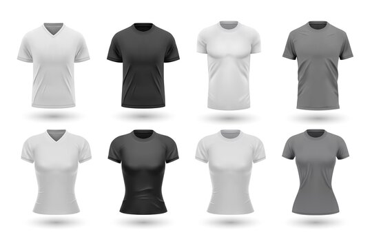 Realistic male shirt mockups set. Collection of realism style drawn tshirt templates front design isolated in raw. Illustration of black gray version of jersey for men women on white background.