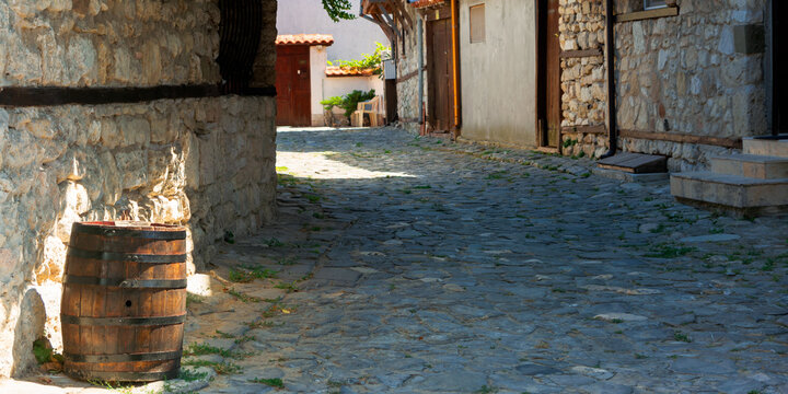 nessebar, bulgaria - SEP 02, 2019: street of the old town. popular destination. rustic architectural background