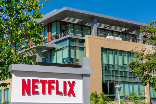 Netflix sign at company headquarters in Silicon Valley. Netflix, Inc. is an American media-services provider and production company - Los Gatos, California, USA - 2019